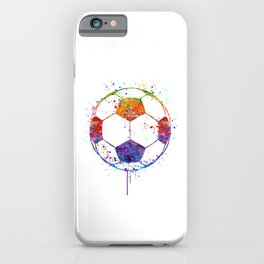 Soccer Ball Watercolor Sports Art iPhone Case