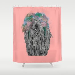 Dredlock Dog (Pastel Pink Edition) Shower Curtain