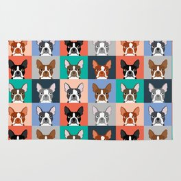 Boston Terriers tile pattern cute boston terrier puppies funny dog breed pet art gift for dog person Rug