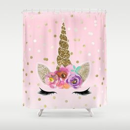 Floral Trendy Modern Unicorn Horn Gold Confetti Shower Curtain