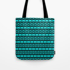 Abstract Pattern Dividers 02 in Turquoise Black Tote Bag