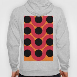 Black Balls on red Elastic Worms in an Orange Background Hoody
