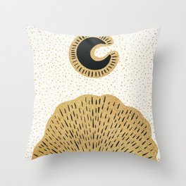 Sun and Moon Relationship // Cosmic Rays of Black with Gold Speckle Stars Cool Minimal Digital Drawn Throw Pillow