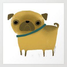 PUG WITH BLUE COLLAR Art Print
