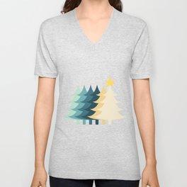 Christmas Tree with Sparkling Star Unisex V-Neck