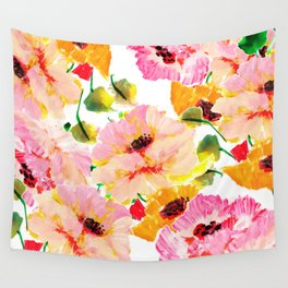 pink orange poppies floral Wall Tapestry