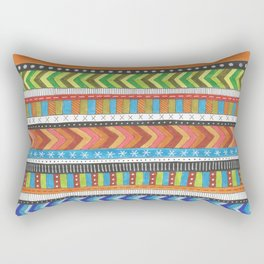 brightly colored patterned stripes Rectangular Pillow
