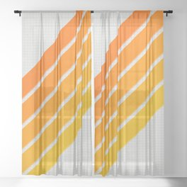Orange Color Drift Sheer Curtain