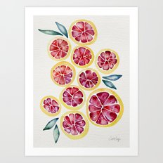 Sliced Grapefruits Watercolor Art Print