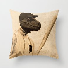 Baseball Velociraptor Throw Pillow