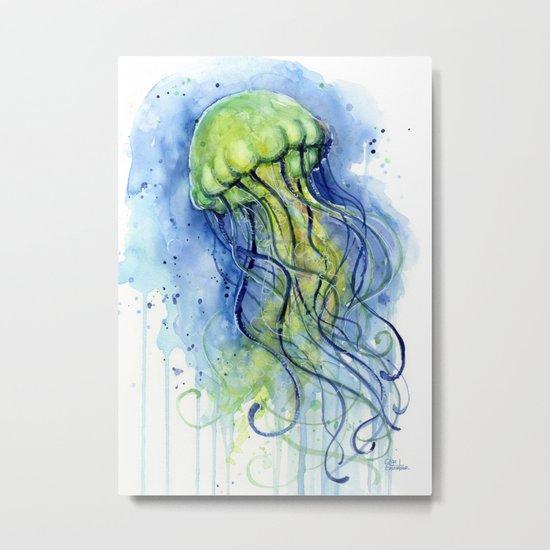 Jellyfish Watercolor Beautiful Sea Creatures Metal Print