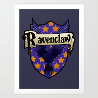 ravenclaw Art Prints featuring Ravenclaw Crest by AriesNamarie