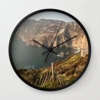 league Wall Clocks featuring Slieve League by Marie Carr