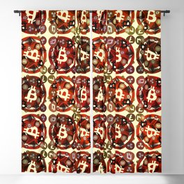 Crypto currency money red pattern Blackout Curtain