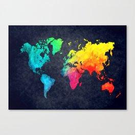 World map watercolor 6 Canvas Print