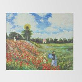 Claude Monet - Poppy Field at Argenteuil Throw Blanket