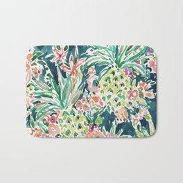 PINEAPPLE PARTY Lush Tropical Boho Floral Bath Mat