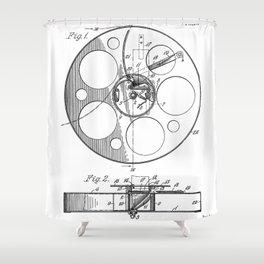 Film Reel Patent - Classic Cinema Art - Black And White Shower Curtain