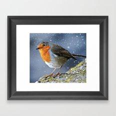 Snowy Robin Framed Art Print