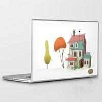 haunted mansion Laptop & iPad Skins featuring Mansion by David Pavon