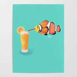 The Clown Fish Drinks Poster
