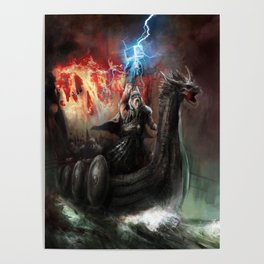 Dragon Viking Ship Poster