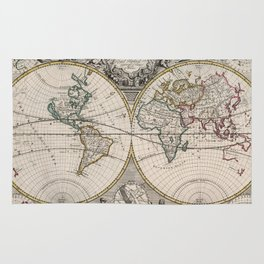 Vintage Map of The World (1721) Rug