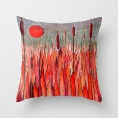 Sunset Over the Cattail Field Throw Pillow