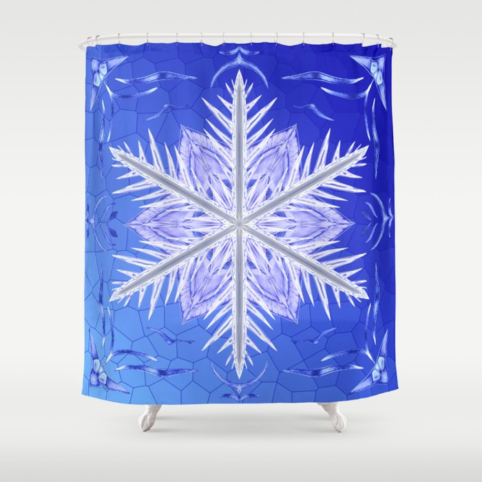 Snowflake Pattern - Bladed Sky Shower Curtain
