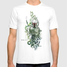 Star Wars _ Boba Fett White Mens Fitted Tee LARGE