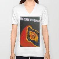 vagina V-neck T-shirts featuring Fun. Fun. Fun. Vagina  by Emily Storvold