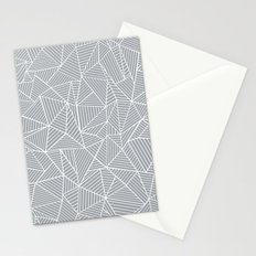 Abstract Lines 2 White on Grey Stationery Cards
