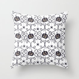 happy hallowen curves and pumkins pattern Throw Pillow