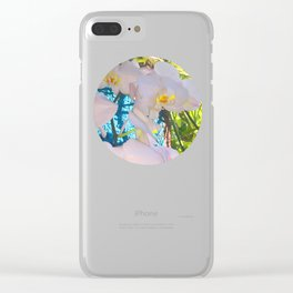 Pink, White and Yellow Orchids Clear iPhone Case