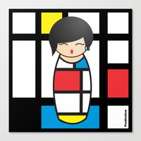 mondrian Canvas Prints featuring Kokeshi Mondrian by Pendientera
