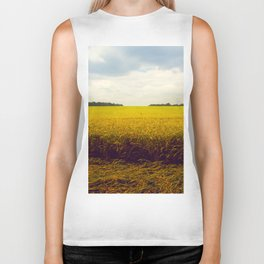 Prairie Landscape Bright Yellow Wheat Field Biker Tank