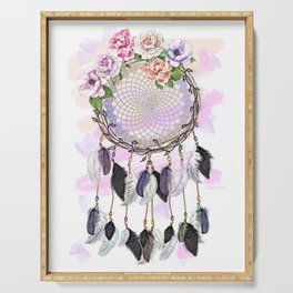 Dream Catcher, Catching Dreams, To Catch A Dream, Feathers and Flowers Dream Catcher Serving Tray