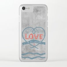 Maritime Design- Love is my anchor on grey abstract background Clear iPhone Case