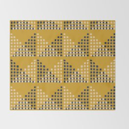 Layered Geometric Block Print in Mustard Throw Blanket