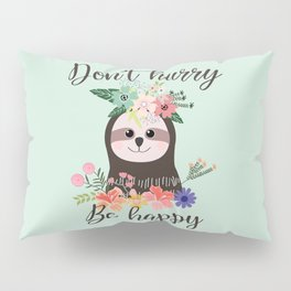 SLOTH ADVICE (mint green) Pillow Sham