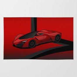 Red racing super car Rug