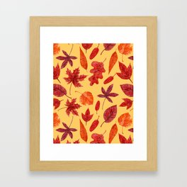 Red autumn leaves watercolor Framed Art Print