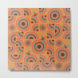 Africa orange hand-drawn cropped Mandalas Metal Print