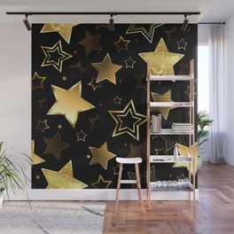 Seamless with Golden Stars Wall Mural