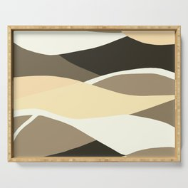Beige Brown and Taupe Abstract Serving Tray
