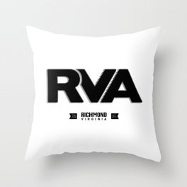 "Rva Logo - Black | "" Striped Outline "" Throw Pillow"