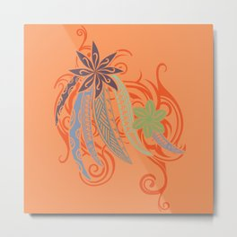 Sunset Orange Hawaiian Tribal Threads Metal Print