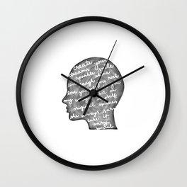 Positive words in my head Wall Clock