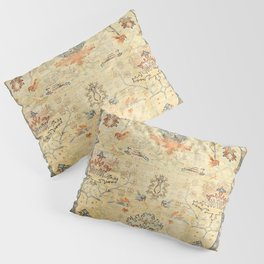 Fine Crafted Old Century Authentic Colorful Yellow Dusty Blues Greys Vintage Rug Pattern Pillow Sham