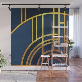 Art Deco Morning Sun In Navy Blue Wall Mural